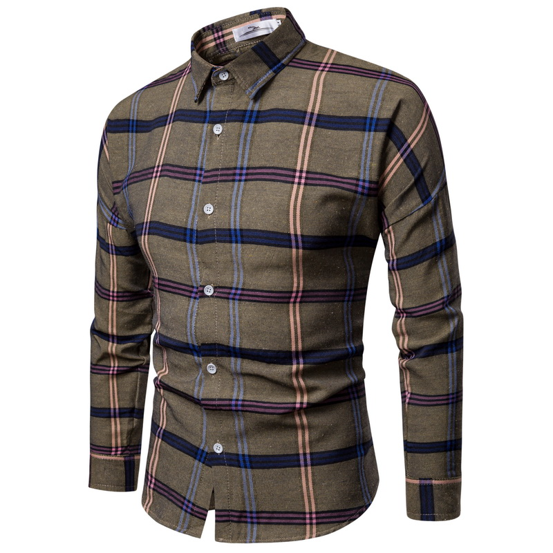 WSGYJ Men Plaid Shirt Long Sleeve Linen Shirts 2019 Fashion Casual Red Checkered Cotton Chemise Homme Man Clothes