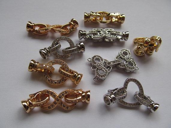 25-50mm 12 pièces AAA fermoir & Crochets Micro Pavé cubique zircone Assorties Léopard Tête Perles connecteur