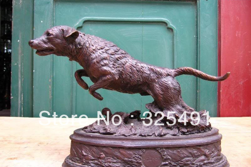 Us 2650 Cinese Puro Rame Bronze Feng Shui Fortunato Runing Fly Fuggire Cane Cane Lupo Statua Z In Cinese Puro Rame Bronze Feng Shui Fortunato