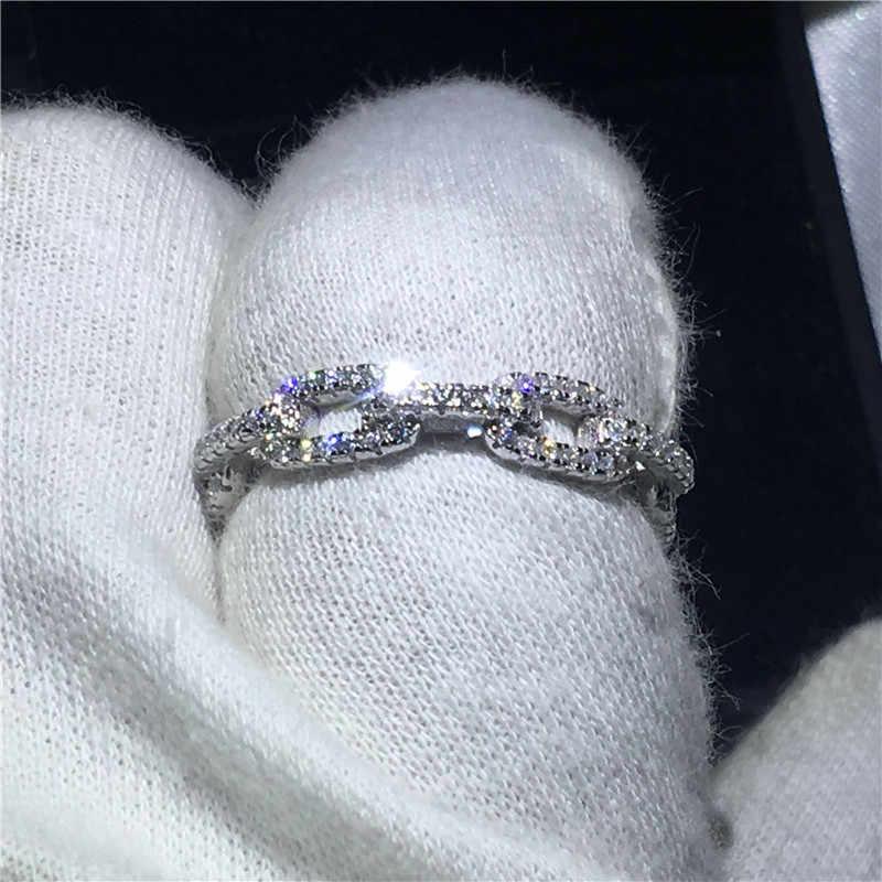 Choucong Chain Shape Real Soild 925 แหวนเงินแท้ AAAAA Zircon แหวนหมั้นแหวนผู้หญิงผู้ชาย Fine Bijoux