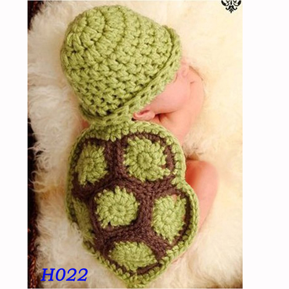 Hot Sale Green Turtle Baby Hat With Cape Set Children Photography