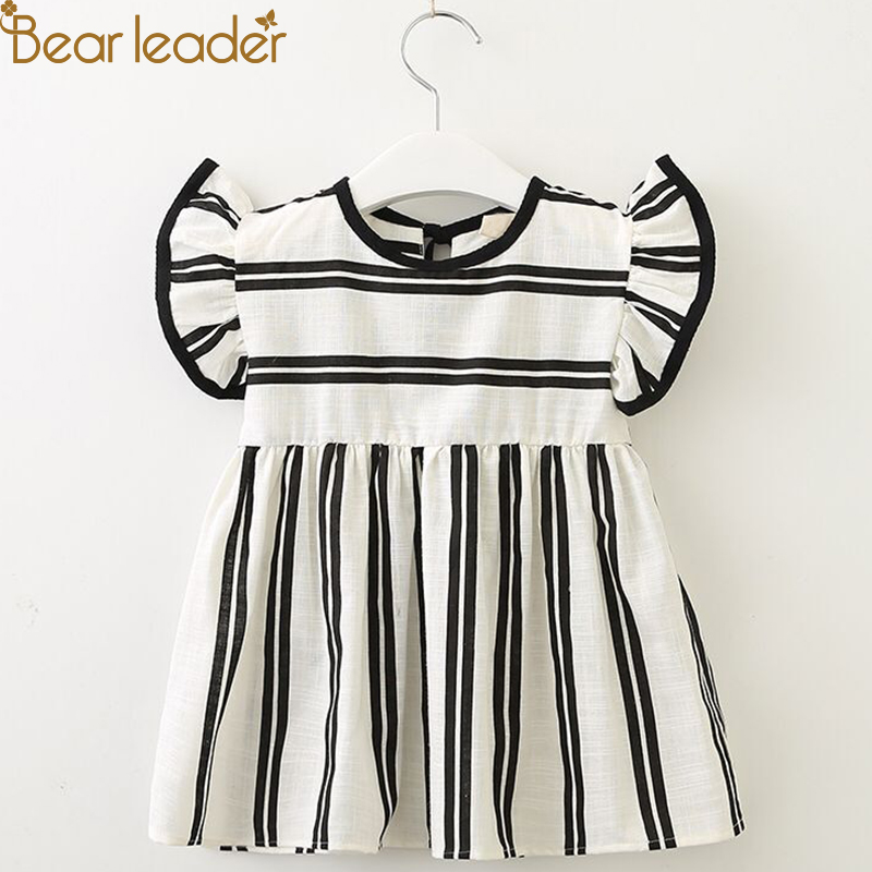 Bear Leader Girls Dresses 2018 Summer Brand New Baby Girl Dress Flying Sleeve Plaid Soft Cotton Dress Striped Doll Dress For 2-7 plaid long sleeve belted midi dress