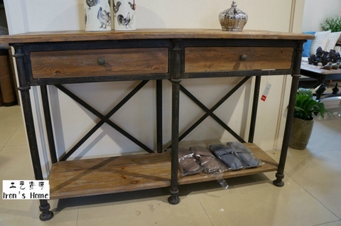 Amazing [Single] French Law LOFT Style Wood Side Tables Pumping Iron Two Feet Long  Console