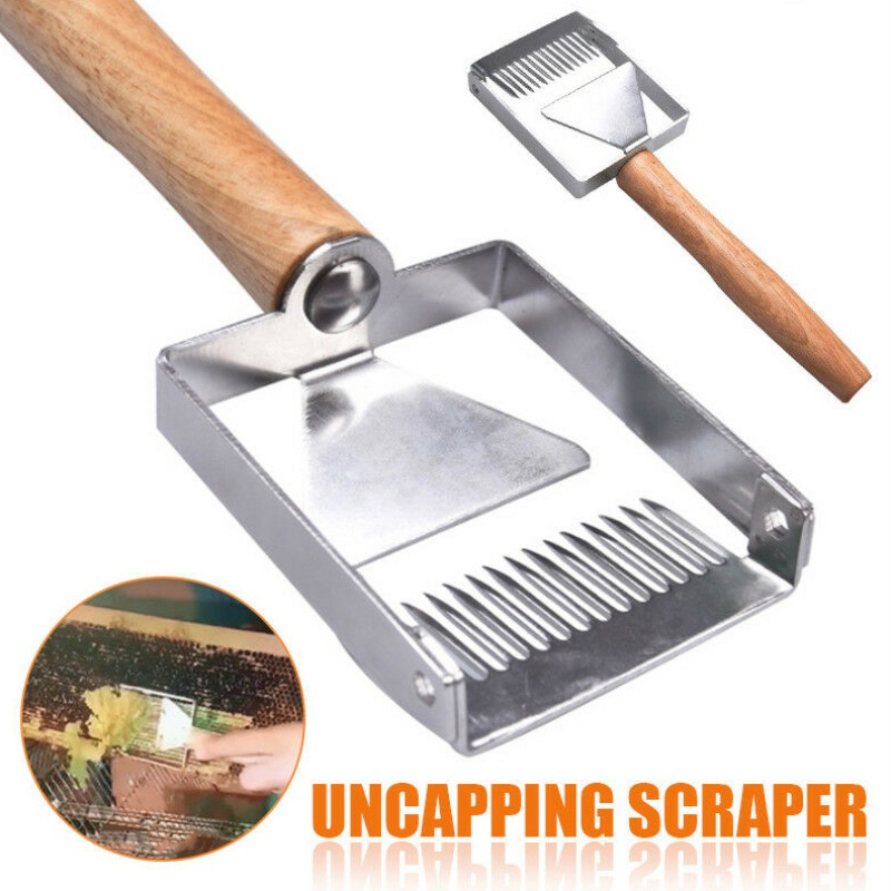 Beekeeping Equipment Uncapping Scraper Honey Honeycomb Scraper Wooden Handle Tool Uncapping Fork Beekeeping