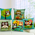 Cute Cartoon Owl Cotton Linen Square Throw Cushion Cover Decorative Pillowcase Home Decor Pillow Cover 45x45cm U0652