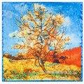 2016 De Seda Da Pintura Padrão de Árvores de Folha Caduca Japoneses E Coreanos Cachecóis Scarf 60*60 cm Little Lady
