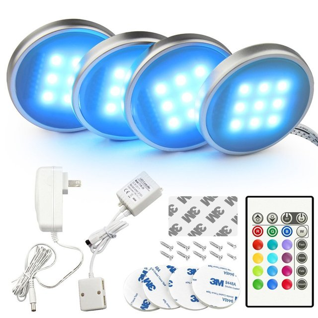 Lumiparty 4 Pack Dimmable Rgb Led Under Cabinet Lighting Remote Control Closet Kit Warm White