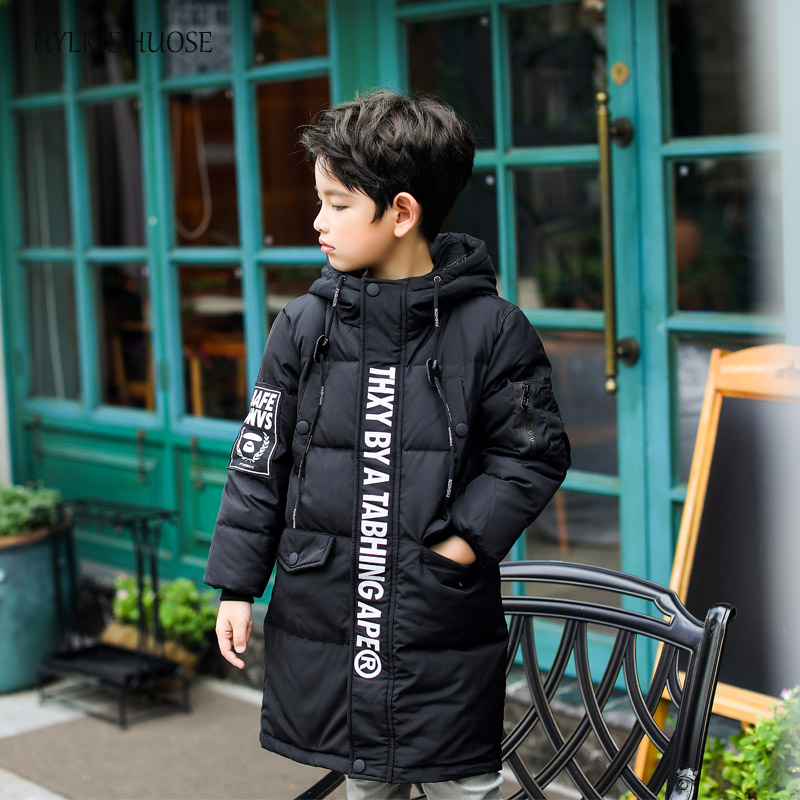 HYLKIDHUOSE 2017 Boys Down Coats Winter Hooded Children Thick Jackets Outdoor Kids Warm Snow Outerwear Long Style Casual Parkas children winter coats jacket baby boys warm outerwear thickening outdoors kids snow proof coat parkas cotton padded clothes