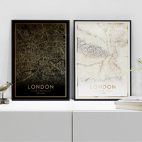 London city map poster real gold foil world map prints for wall art canvas decor picture for Nordic style living room gift