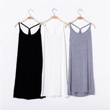 Modal Y word camisole package hip Slim Women Dress Halter solid color base skirt nightgown free home delivery