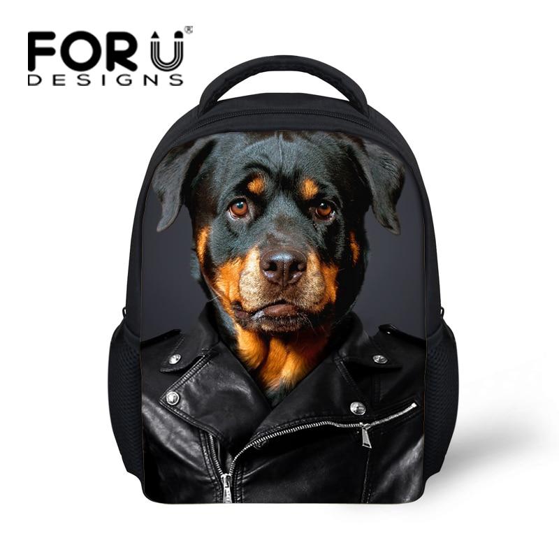 Lovely 3D Animal Rottweiler Dog Printing Girls School Bags Mini Children Bookbag Baby font b Kids
