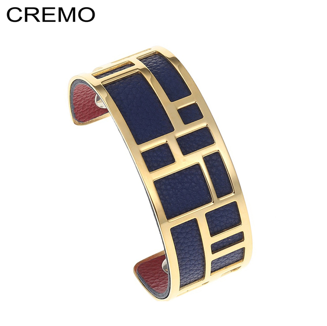 Cremo Labyrinth Bracelets & Bangles For Women Gold Stainless Steel  Interchangeable Leather Cuff Bijoux Femme Pulseiras