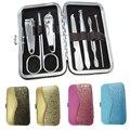 Portátil 7 unids/set Set de Manicura Pedicura Cuidado de las Uñas Clipper Tijera Pinzas Earpick Kit Nail Herramientas con Estuche
