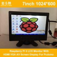 Full New 7 inch 1024x600 Raspberry Pi 3 LCD Monitor With HDMI VGA AV Screen Display For Pcduino Banana Pi Car