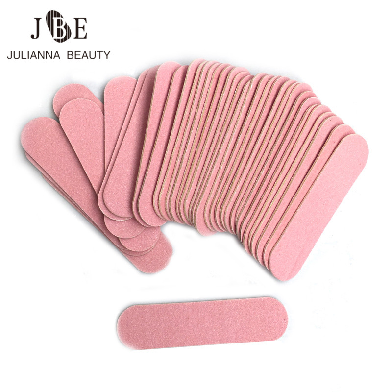 <font><b>100</b></font> pcs Mini 6cm Professional Nails Files Art Tools Sand Emery Board Sandpaper Double-Sided Nail Buffer <font><b>100</b></font>/240 Grit Nail Art image
