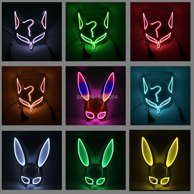 Newest Female Half Face EL Mask Neon Light Up Fox Bunny Cosplay Mask Sexy Carnival Party Led Mask For Anime Expro Halloween