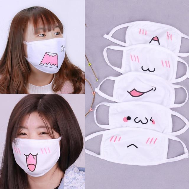1PC Kawaii Anti Dust Mask Cotton Mouth Mask Cute Anime Cartoon Mouth Muffle Face Mask Emoticon Masque Masks 1