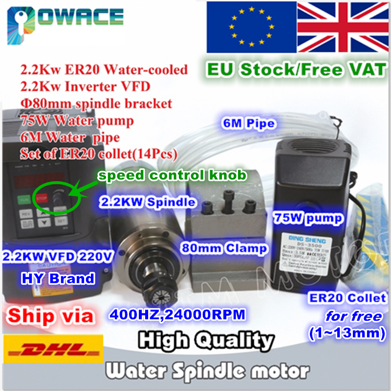 RU US EU Delivery 2 2KW Water Cooled Spindle Motor 2 2KW Inverter 80mm Fixture