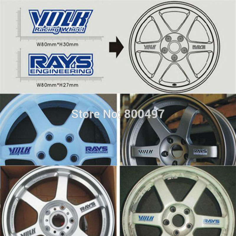 4 X New Car Styling Classical Wheel Rim Decorative Vinyl Creative Stickers Decals For Volk Racing Rays Wheels Engineering