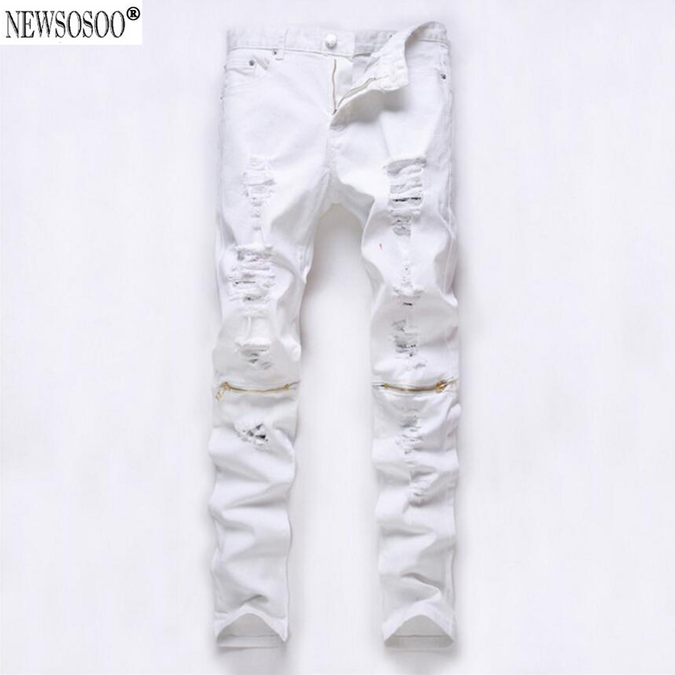 ФОТО Newsosoo Men's ripped hole jeans for men Casual denim Straight long trousers white baggy jeans hombre MJ71