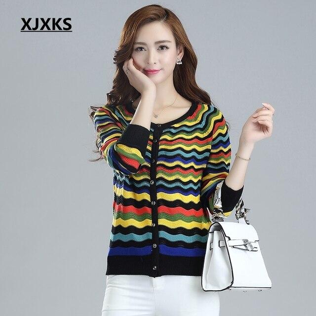 XJXKS נשים חולצה מיזוג אוויר סוודר דק חלול קרדיגן פסקה קצרה מעיל קרם הגנה גלי צבע סוודרים נשיים