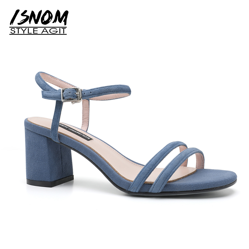ISNOM 2018 Summer Kid Suede Sandals Women Open Toe Footwear Buckle Sandals Shoes Fashion Thick High Heels Office Female Shoes isnom summer high heels sandals women kid suede square heels buckle open toe back strap footwear office 2018 brand ladies shoes
