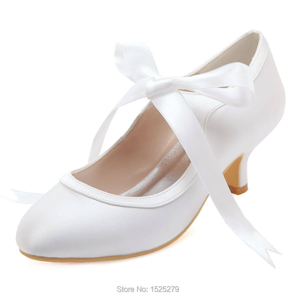 HC1803 White Ivory Women Shoes Ribbons mid Heels Mary-jane Party Pumps Lady Satin Wedding Bridal Shoes