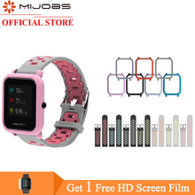 Mijobs 20mm Amazfit GTS Strap Silicone Bracelet Case Cover PC Shell Bumper for Xiaomi Huami Amazfit Bip BIT PACE Lite Smartwatch mijobs 20mm silicone wrist strap protective case cover plastic pc shell for huami xiaomi amazfit bip bit pace lite smart watch