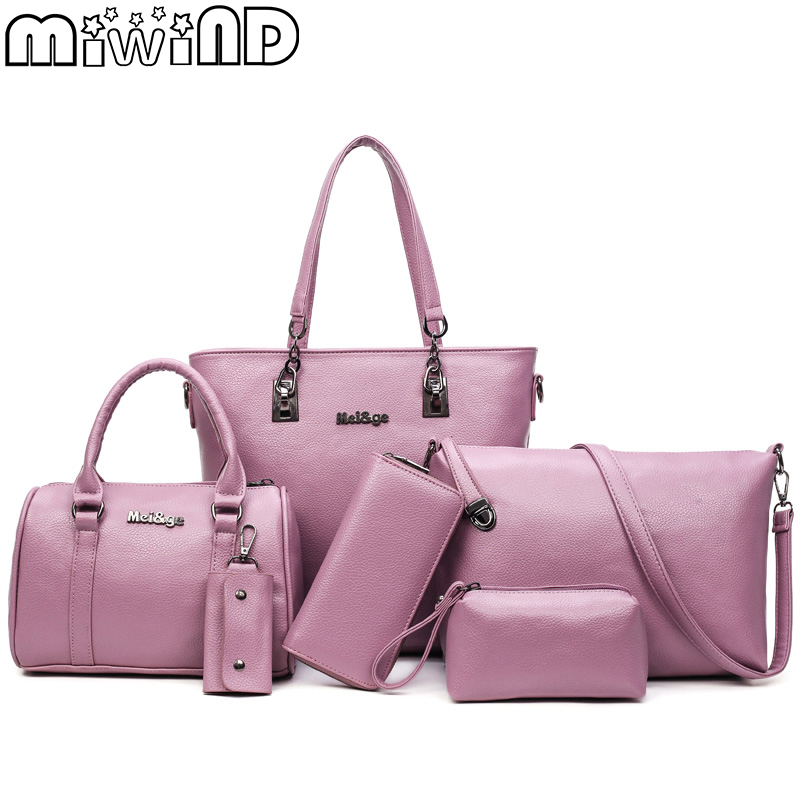MIWIND 2018 New Women bag Fashion High-Capacity PU Leather Shoulder & Handbag Crossbody Zipper Solid Female Bags 6-Piece set miwind new fashion leather handbags high quality women shoulder bags buy one get another free full set 6 pieces more favorable