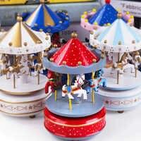 Merry-Go-Round Wooden Music Box Decor Carousel Horse Music Box Christmas Wedding Birthday Gift Children Kids Toy Home Decoration