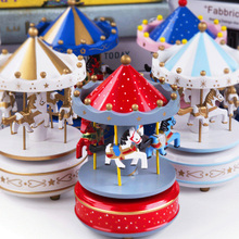 Merry-Go-Round Wooden Music Box Decor Carousel Horse