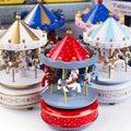 Merry-go-round caixa de música de madeira decoração carrossel cavalo caixa de música natal presente de aniversário de casamento crianças brinquedo decoração de casa