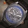 Лидирующий бренд  мужские часы OUYAWEI  Роскошные автоматические механические часы  наручные часы с скелетом  часы из натуральной кожи  relogio ...