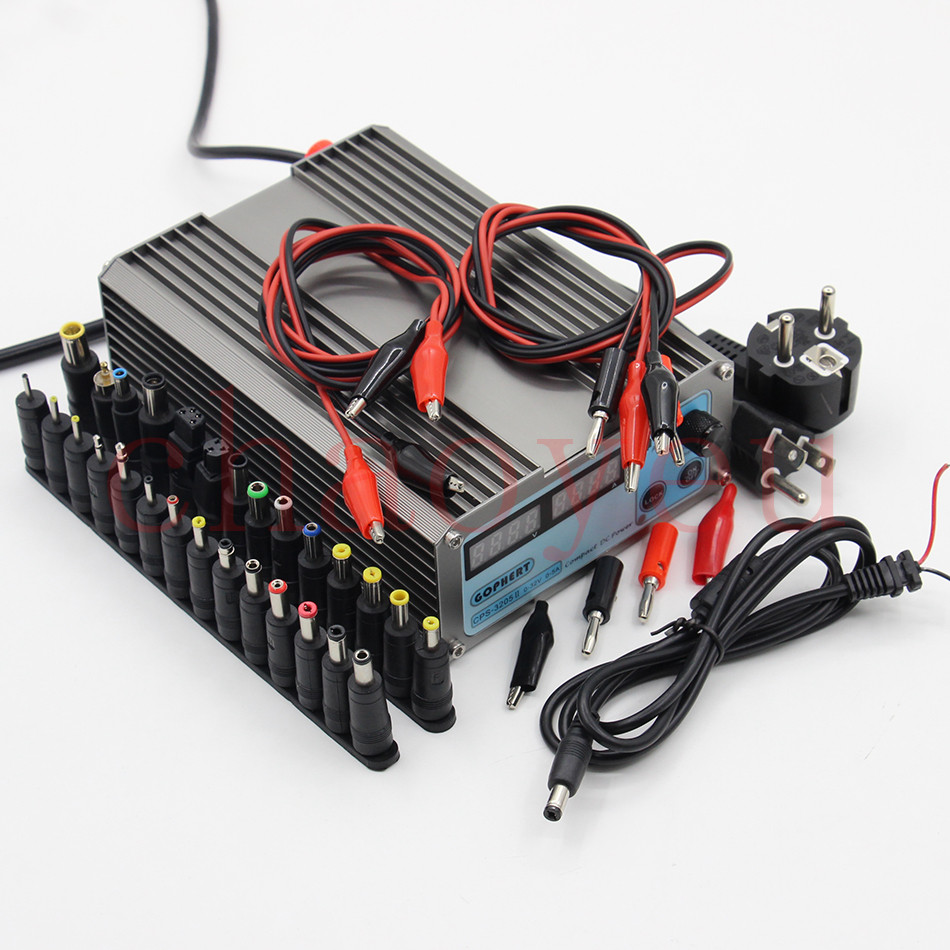 ФОТО Mini cps-3205II DC Power Supply + 37pcs DC cable connector EU UK US adapter OVP/OCP/OTP low power 110V - 230V 0-32v 0-5A