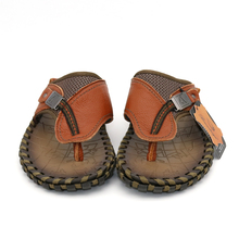 BIMUDUIYU Brand New Arrival Slippers High Quality Handmade Cow Genuine Leather Summer Shoes Fashion Men Beach Sandals Flip Flops