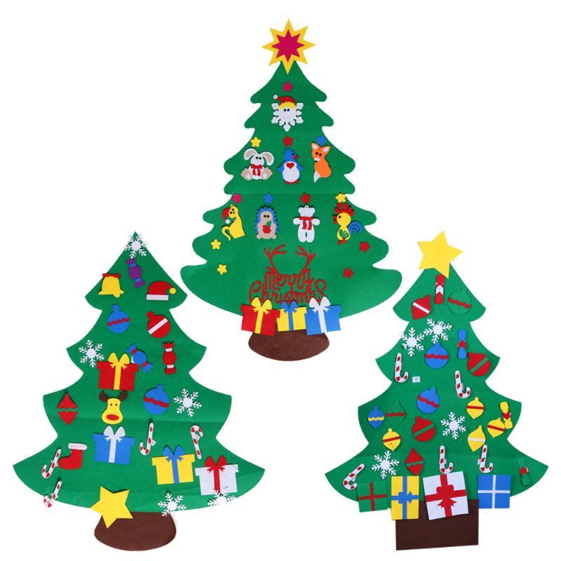 Kids Decorating Christmas Tree: Children DIY Creative 3D Xmas Tree Stereo Felt Christmas