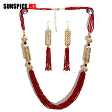 SUNSPICE-MS Fashion Engagement Wedding Jewelry Sets African Beads Bridal Long Necklace Tassels Dangle Earrings Dubai Gold Color(China)