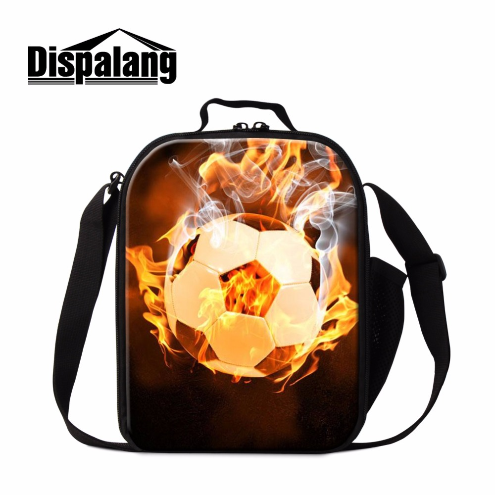 Dispalang Soccerly Lunch Bag for Kids Insulated Cooler Bag Footbally School Lunch Container for Boys Samll Messenger Meal Bags