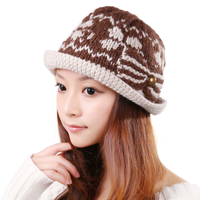 BomHCS All-match Fashion Women Autumn Winter Warm Knitted Hat 100% Handmade Crochet Beanie Beret Ski Cap winter women beanie curl all match crochet knitted hiphop hats warm ski hat baggy cap femme en laine homme gorros de lana 62
