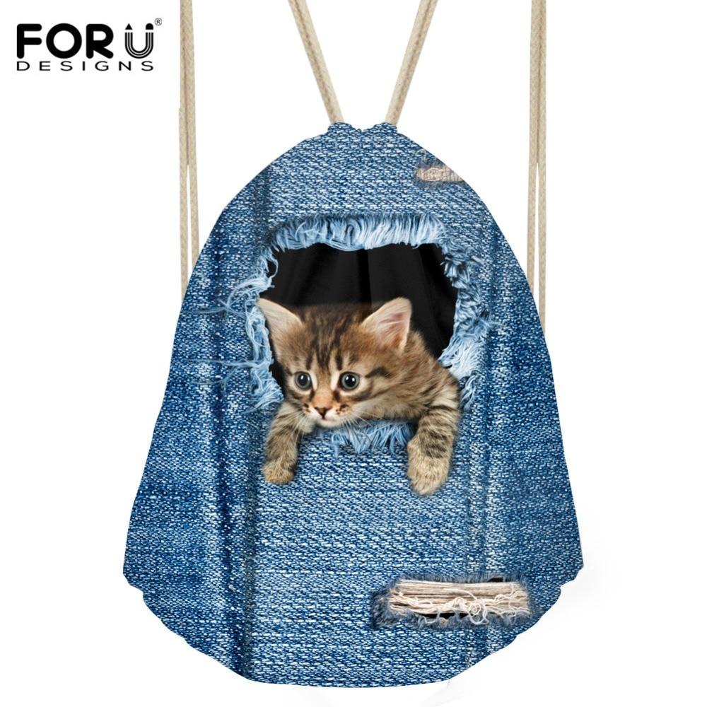 FORUDESIGNS Denim Cat Printing Women Drawstring Bag Small School Backpacks for Children Girls Casual Backpack Mochila Sac a dos