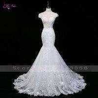 Waulizane Fashion Design Scoop Mermaid Wedding Dresses Luxury Unique Lace Appliques Embroidery Backless Bridal Gowns Plus