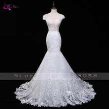 Waulizane Fashion Design Scoop Mermaid Wedding Dresses Mewah Unik Lace Appliques Bordir Backless Bridal Gowns Plus Size