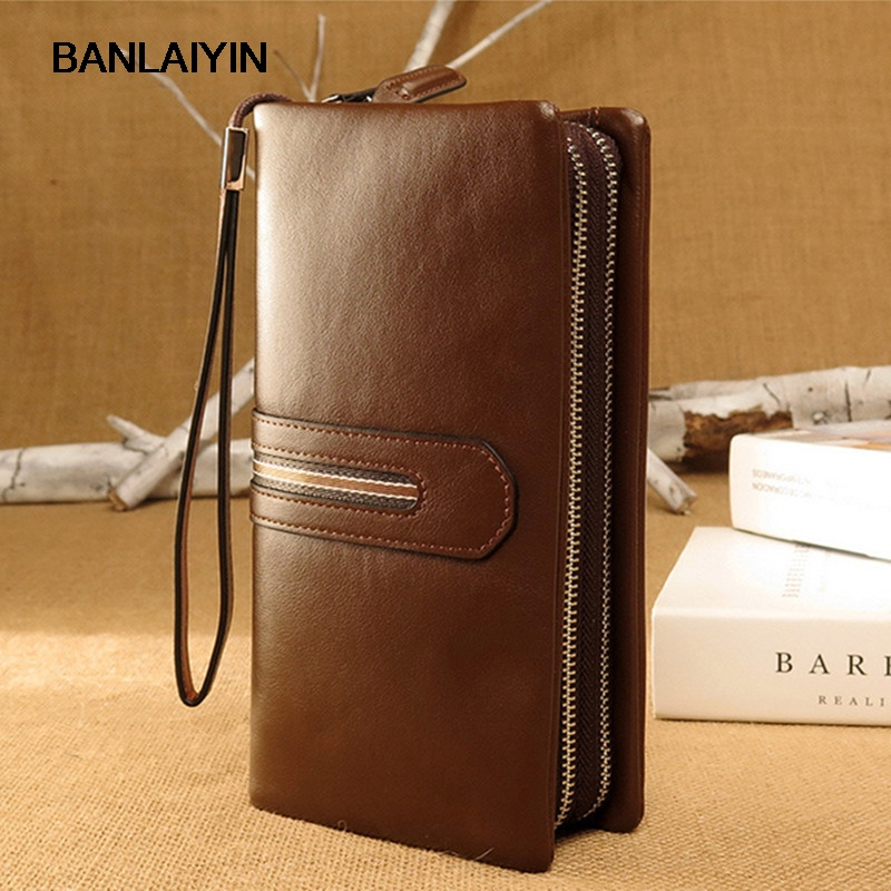 Brand Genuine Leather Men Wallets Business Card Holder Coin Purse Men's Long Zipper Wallet Soft Leather Clutch nawo real genuine leather women wallets brand designer high quality 2017 coin card holder zipper long lady wallet purse clutch
