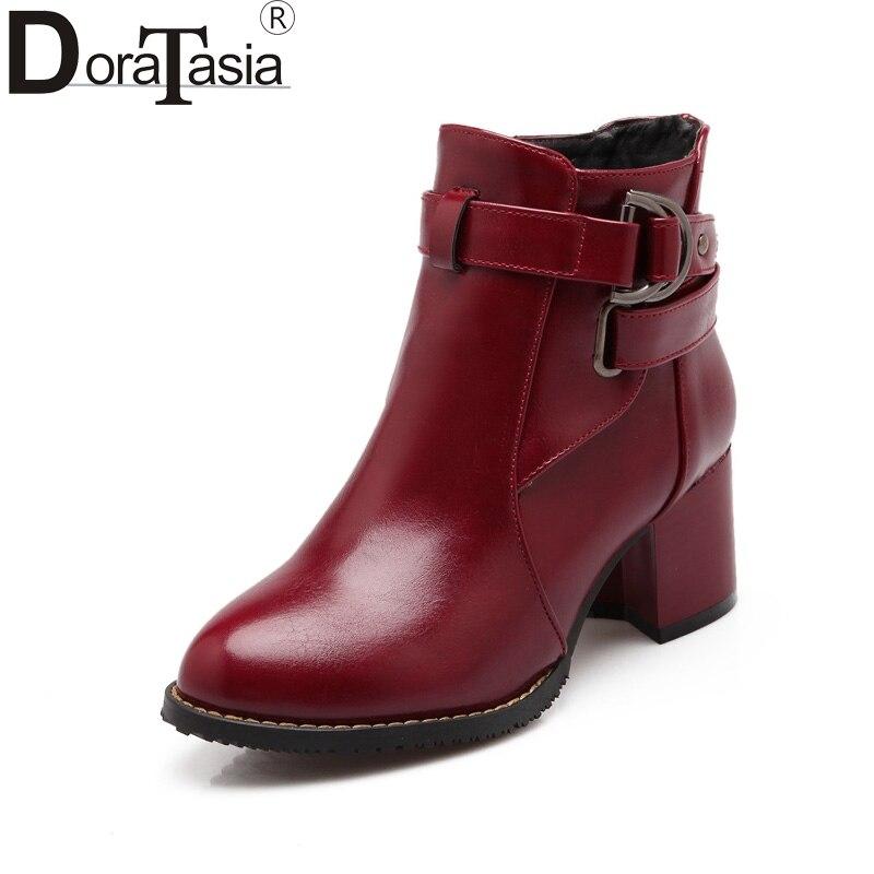 DoraTasia 2017 Large Size 31-48 platform Women Shoes Woman Fashion Square Med Heels buckle Ankle Boots chelsea boots настенная плитка porcelanosa liston chelsea camel 31 6x90