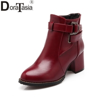 DoraTasia Women Ankle Boots Chunky Heels Buckle Shoes Woman Winter Add Fur Warm Shoes Female Chelsea Boots 2018 Large Size 31 48
