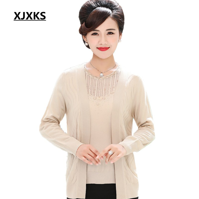 XJXKS beading blends wool knitted women two pieces sweater set large size beading hollow out womens