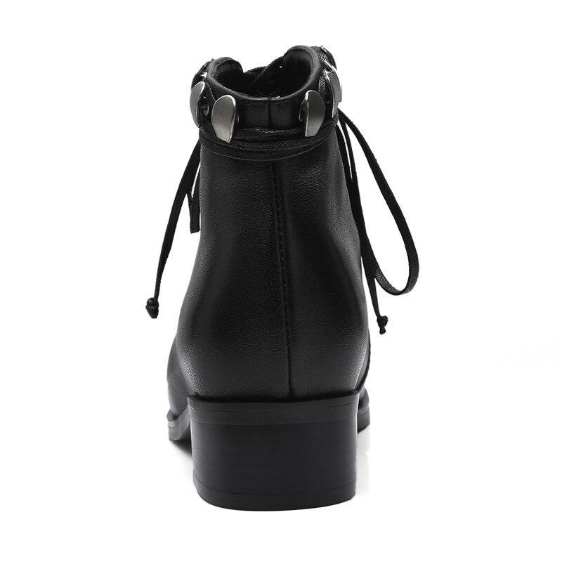 Épais Black Taille Enmayer Cr1085 De Bottes En 39 34 Causalité Dames Med Rivets Réel Cuir Mode black2 Chaussures Carré Bottines D'hiver Bout Talons 1qUv1