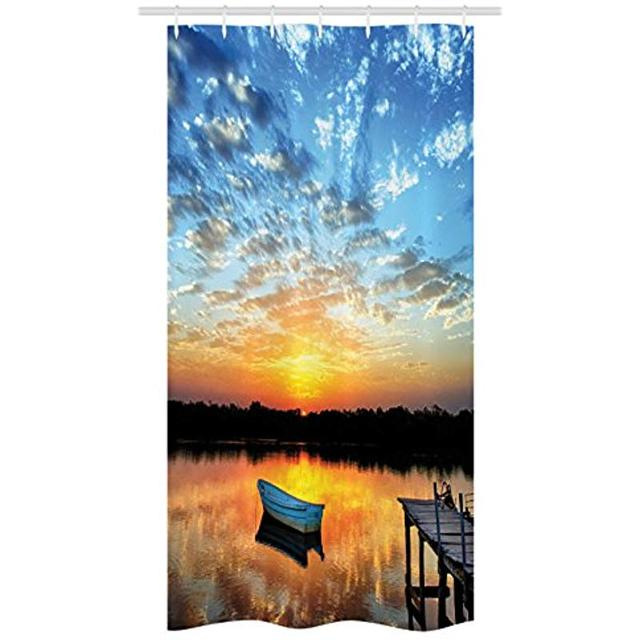 Vixm Nautical Stall Shower Curtain Little Fishing Boat On Pond Tranquil Sunrise Water Reflection Picture Fabric Bath Curtains