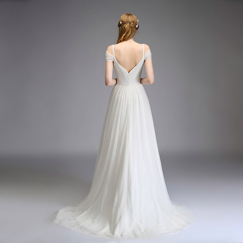 2018 Elegant Spaghetti Tulle Bridesmaid Dresses Off the Shoulder Long Wedding Party Dress 3