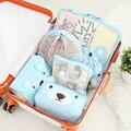 Novas Mulheres Estilo Fresco Lavagem Higiênico Organizar Saco Bonito Urso impressão de Nylon E Pano Net Maquiagem Portátil Cosmetic Bag Bolsas 62920